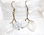 White Dangle Earrings, White Leaf Earrings, Nature Inspired, Bridal Jewelry, Gift Idea,