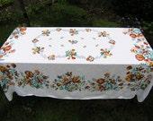 Large Rectangular Vintage Tablecloth, Retro Floral Cotton Tablecloth, Vintage Linens, Flowers