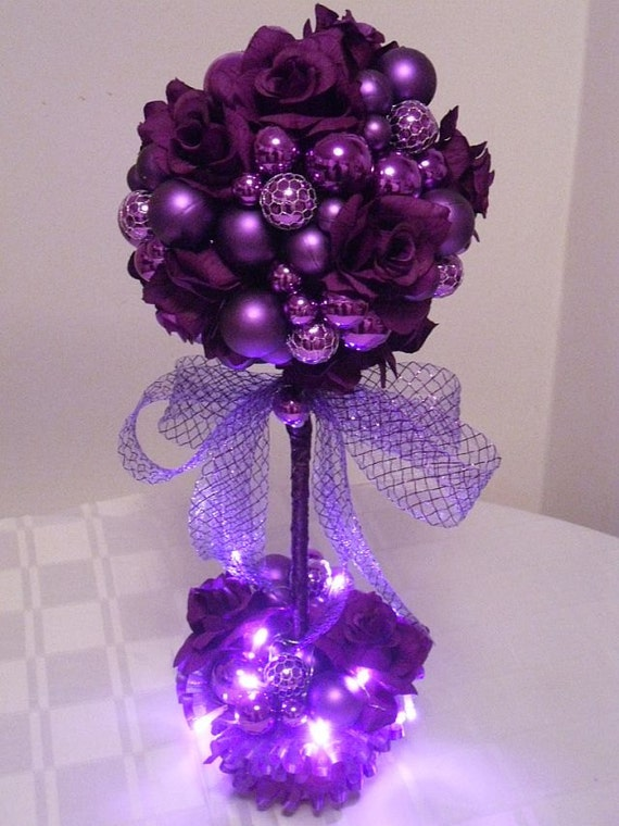 Items similar to christmas centerpiece purple passion