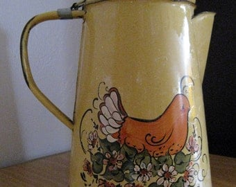Enamel Coffee Pot country Chicken or hen