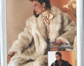 Misses Connoisseur Collection Lined Faux Fur Coat Pattern, Simplicity 7078, Sizes S,UNCUT