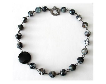 Gun metal necklace with black scale agate and onyx - natural multi-coloured stones - black, white, brown, grey and muted green