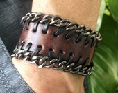 Antique Men's Brown Leather with Metal Chains Cuff Bracelet, Leather Wrist Band Wristband Handcrafted Jewelry