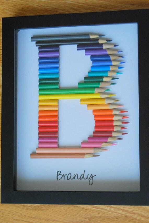 Personalized Teacher Child Gift Monogram In Colored Pencil