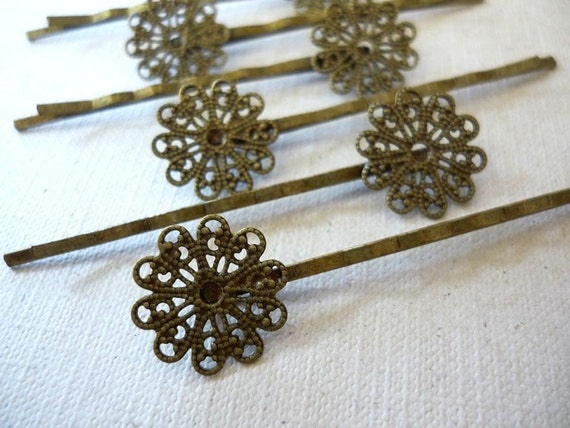 12 pcs Antique Bronze Bobby Pins - Lead Free Filigree Design - 61 mm long - great for making cute hair accessories