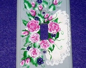 Hand Painted Shabby Chic Single Light Switch Plate Decorative Wood Wall Outlet Cover Pink Roses White Lace One of a Kind Housewarming Gift