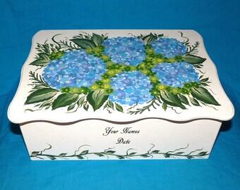 Decorative Wood Wedding Card Box Wedding Keepsake Box, Wooden Box Hydrangeas Wedding Gift Card Box Personalized Custom Painting Large Box