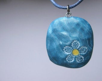 Polymer Clay Necklace, Blue Flower Jewelry, Square Flower Pendant