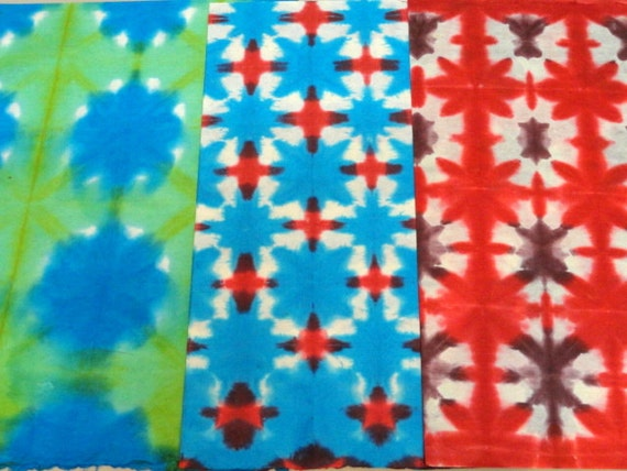 SALE Handmade Eco friendly Gift wrapping paper in Batik Tie and Dye  Green, Blue, Red