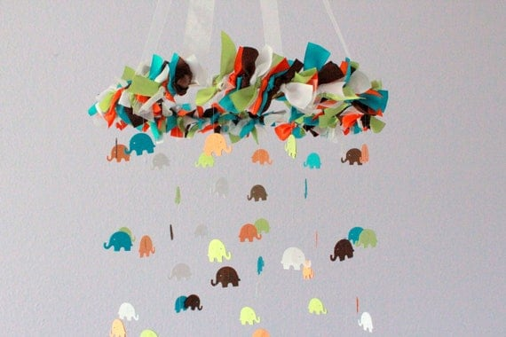 Elephant Nursery Mobile in Turquoise, Orange, Green, Brown & White- Nursery Decor, Baby Shower Gift