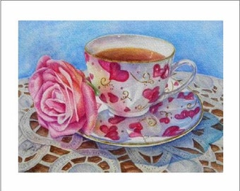 Heart Greeting Cards- Power Of Pink Teacup Notecard Multi Pak of 6 Blank Cards