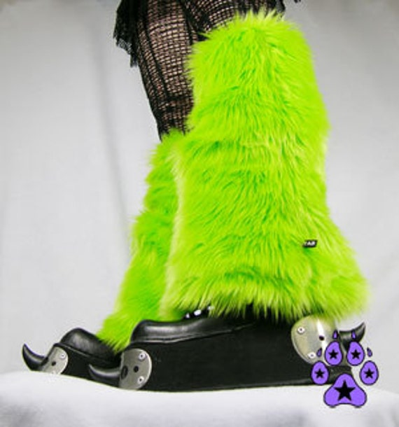 PAWSTAR Furry Leg Warmers boot Covers Fluffies YOU Pick Color Lime Green Neon Purple Teal rave cyber cosplay anime rave costume goth 2501