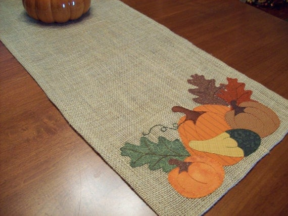Bountiful Harvest Fall Burlap Table Runner