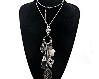 Crystal Charm Long Necklace