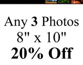 Set of 3 Photos 20% Off, choose any photos, landscape nature photography