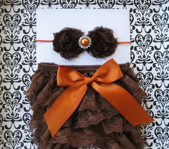 Baby girls Halloween, Thanksgiving, Fall bloomer set,  brown petti lace bloomers,  diaper cover, baby size 0-6 months, headband, Photo prop