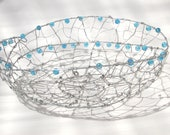 Wire Bowl with Blue Beads