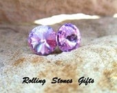 Violet Swarovski 8.4mm Rivoli Rhinestone Stud Earrings-Violet Crytsal Studs-Purple Rivoli Studs-Violet Rivoli Stud Earrings