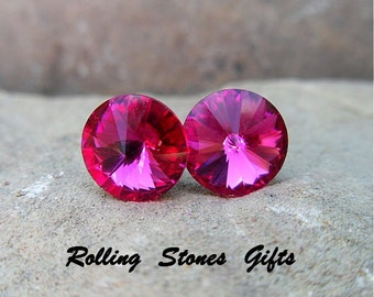 Fuchsia 8.4mm Swarovski Rivoli Rhinestone Stud Earrings-Large Fuchsia Crystal Rivoli Studs-Hot Pink Crystal Studs