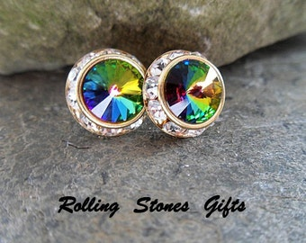 12mm Vitrail Medium & Gold Swarovski Surrounds Rhinestone Stud Earrings-VM Crystal Studs-Large Rainbow Crystal Stud Earrings