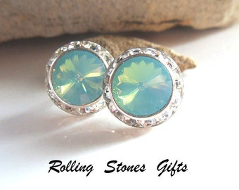 15mm Pacific Opal Silver Swarovski Surrounds Rhinestone Stud Earrings-Pacific Opal Crystal Studs-Large Opal and & Silver Studs- Large Studs