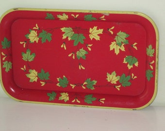 Vintage Red Metal Serving Tray with Green & Yellow Leaves