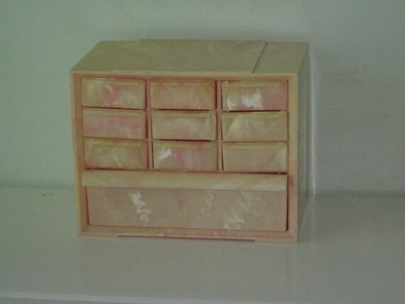 Vintage Marbled Pink Swirl Hard Plastic Storage Box with 10 Drawers