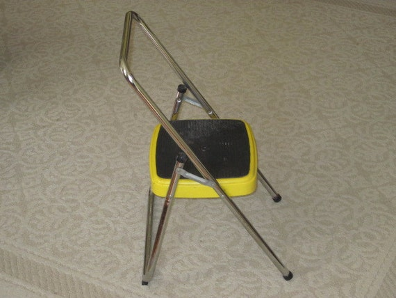 Vintage Yellow Metal Cosco Step Stool Single By Whitefarmhouse