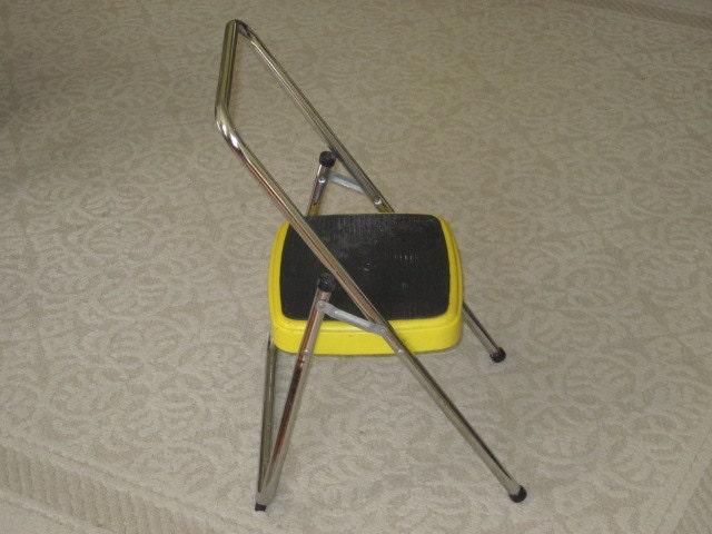 Vintage Yellow Metal Cosco Step Stool Single By Whitefarmhouse