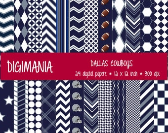 OFF %40 - INSTANT DOWNLOAD - Digital Paper Pack -  Dallas Cowboys Colors - Navy, Silver and White 24 Printable Papers