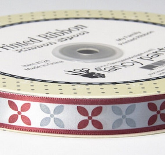 Ribbon 3 YDS Burgundy and Gray My Family Collection by Fancy Pants