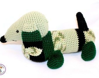Large Dachshund Crochet Plush Toy - Army - Made To Order