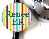 Stethoscope 1.50 inch ID button tag- Multi colored stripes personalized with your choice of initial or name.