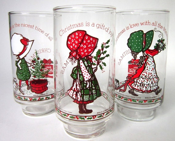 Set of 9 Vintage 1977 Holly Hobby Christmas Glasses, Collectible Coca-Cola Tumblers