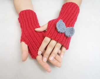 Knit Gloves, Fingerless Gloves, Arm warmers, Red fingerless gloves, Fashion Accessories, Handmade gifts, For her gifts, Bow