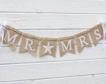 Mr. & Mrs. burlap banner - starfish - Wedding Banner - Photography prop
