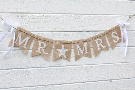 Mr. & Mrs. burlap banner - starfish - Wedding Banner - Photography prop