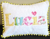 """Applique Personalized Name Pillow Cover With Pom Pom Fringe 12"""" x 16"""""""