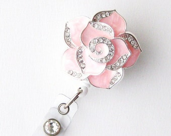 Pink Petal Bling - Pretty Badge Holder - Unique Badge Reels - Stylish ID Badge Clip - Nurse Jewelry - Teacher Gift - RN Badges - BadgeBlooms