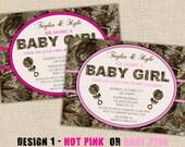 PINK Hunting Camo Baby Shower Invitation - Digital DIY Printable