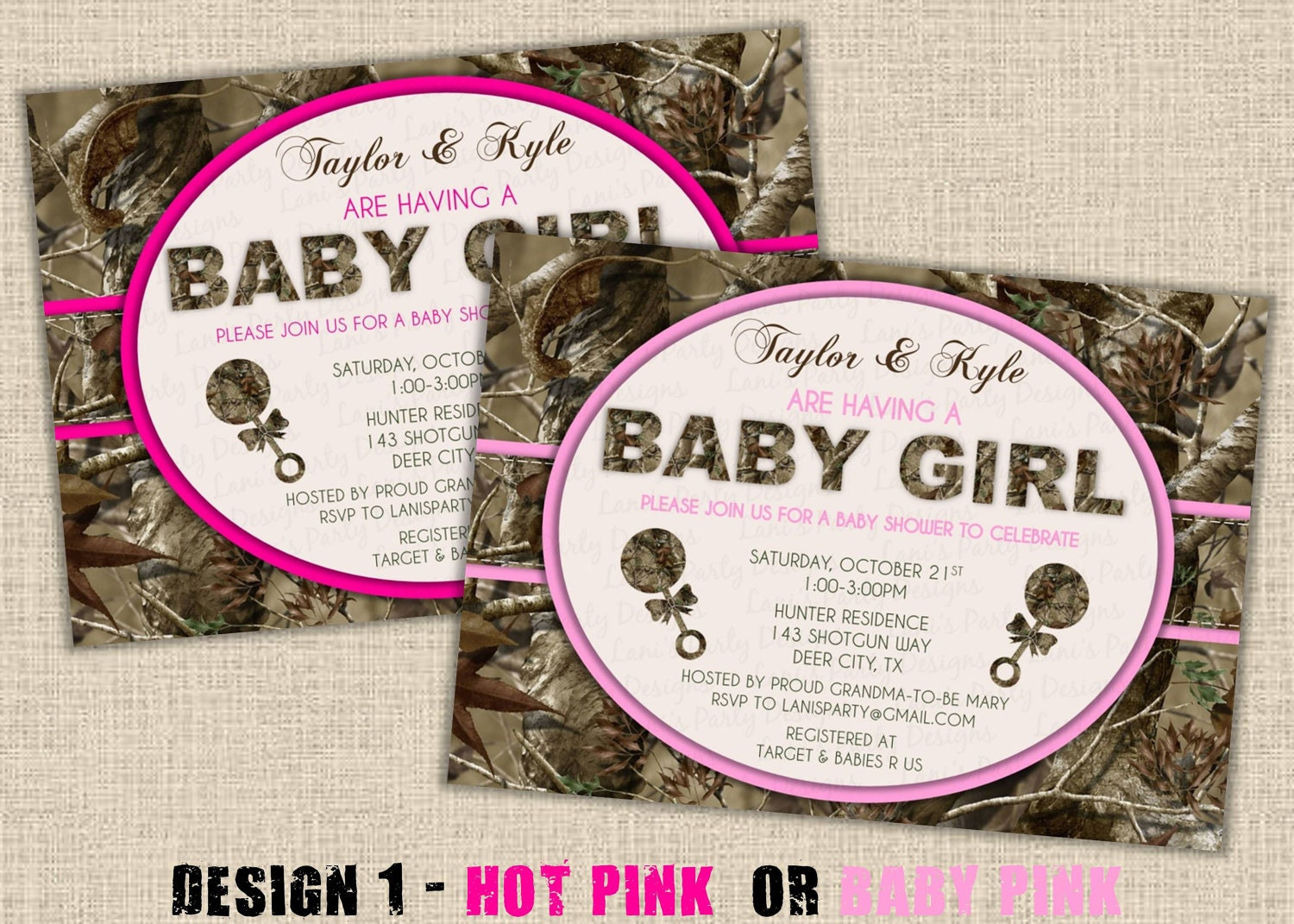pink hunting camo baby shower invitation digital diy