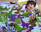 SALE girls Dora the explorer fabric  purse lined velcro closure animal camo print