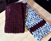 unisex crochet scarf varigated blue and white and wine red design ready to ship