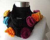 knit  scarf scarves knit scarf accessories for her knit wrap scarves floral scarf gift for her