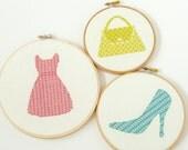 Modern cross stitch pattern PDF - Set of 3 patterns - Fashion Collection - Dress, Shoe, Purse