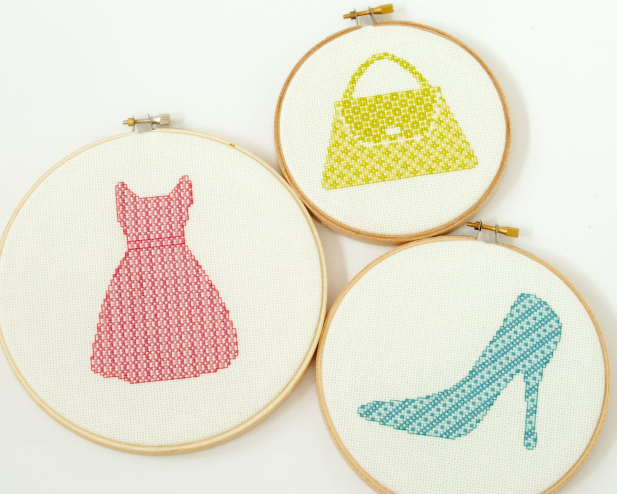 Modern cross stitch pattern pdf sassy blue shoe fashion