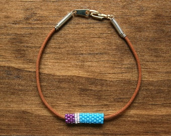 Magenta, Silver, and Cyan Blue Colorblock Peyote Tube and Leather Bracelet