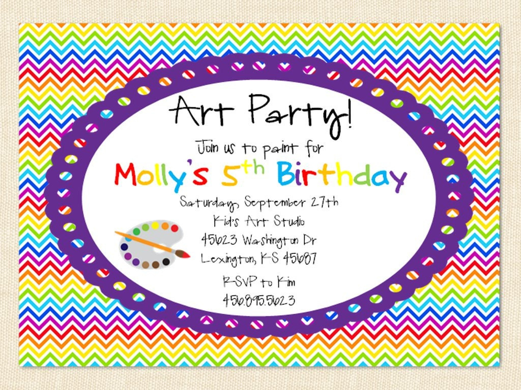 Painting Birthday Party Invitation Wording Quotes
