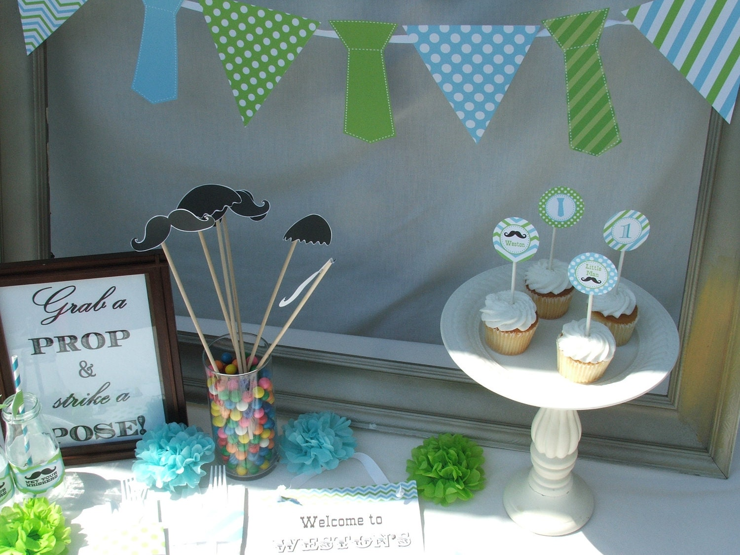 Boy first birthday mustache decorations package by for 1st birthday decoration packages
