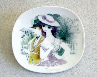 Vintage ROSENTHAL PLAQUE Lis MULLER Porcelain White Trinket Dish Wall Plate Victorian Strollng Couple Hand Painted Germany Dresser Tray Pin